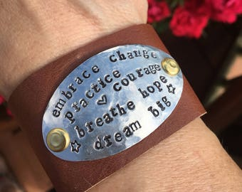 Embrace Change Hand Stamped Metal & Leather Cuff