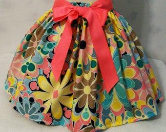 Girls Blue with Pink and Yellow Floral Skirt, Girls Clothing, Baby Girl Skirt, Toddler Girl Skirt, Big Girls skirt, handmade, USA Made, #241