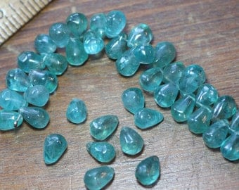 Apatite Beads Aqua Blue Smooth Apatite Briolette Beads Teardrop Turquoise Blue Gemstone Beads Pack 2 Pairs (4 Beads)