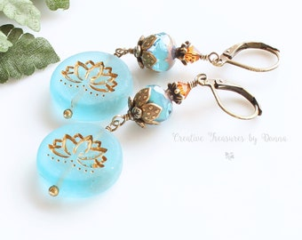 Brass Earrings, Czech Turquoise Lotus Flowers, Czech Glass Beads, Swarovski Crystals, Lotus Flower Earrings, Peace Earrings, Flower Earrings