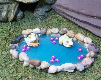 SALE 20% MINIATURES Miniature stone pond for Fairy garden or terrariums, handmade mini pond with frogs