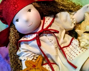 Ready to ship! Mary Ruth Goes To The Beach - 21 inch Waldorf Doll in Vintage Inspired Bathing Outfit