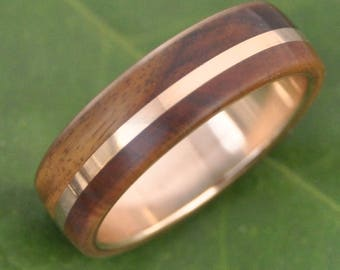 Size 11 READY TO SHIP Gold Solsticio Oro Nacascolo - all 14k yellow gold inlay and inner band with wood ring