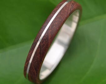 Wood Ring Asi Nacascolo Wood Ring - ecofriendly recycled sterling silver and wood wedding ring, wooden ring, mens wood ring, wooden band