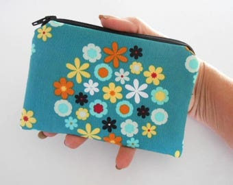 Small Coin Purse Little Zipper Pouch ECO Friendly Padded NEW Teal Lagoon