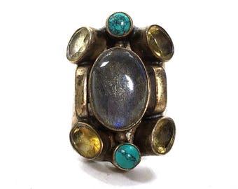 Labradorite & Sterling Modernist Ring / Vintage BIG Multi Stone Statement Ring / Turquoise Citrine Boho Hippie Gypsy Bohemian / Size 7