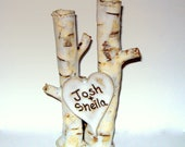 Rustic Birch Wedding cake topper custom personalized stoneware pottery birch bark tree clump look with heart by Earth N Elements Pottery