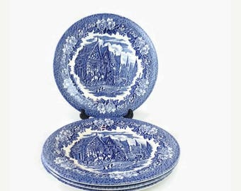 Ironstone Blue & White Plates, Set of 4 Vintage EIT Dickens Series Dinner Dishes, Made in England