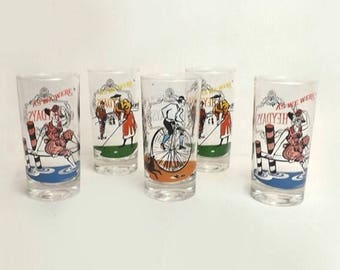 """Anchor Hocking Glasses, Set of 5, Vintage """"As We Were"""" Tall Tumblers, Elegant Drinking Glasses, Victorian Scenes"""