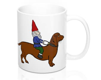 Gnome & Dachshund Mug|Gift for Doxie Lover|Dachshund Gift Ideas|Wiener Dog Christmas|Sausage Dog|Wiener Dog|Office Gift Exchange|Doxie Mug