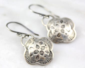 Hand Stamped Silver Clover Earrings Southwest Metal