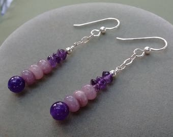 Amethyst and Lilac Gems Dangle Earrings-Free Shipping