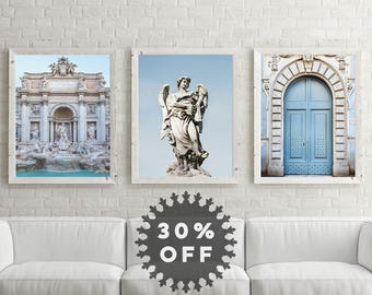 """SALE Rome Print Set, Italian Wall Art Prints, Rome Photography, Living Room Wall Decor, Travel Posters """"Blue in Rome"""""""