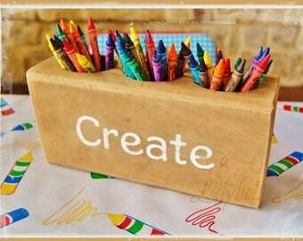 Wooden Crayon Holder - Wood Crayon Holder - Custom Crayon Holder - Wood Sugar Mold -  Crayon Holder - Art Supply Organizer-Crayon Organizer