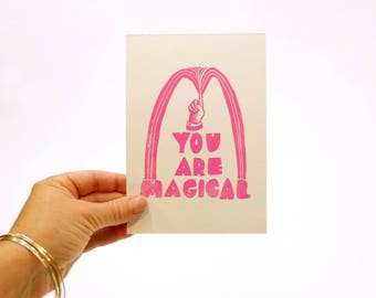 You Are Magical linocut letterpress wall art print