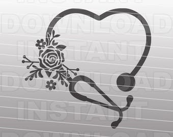 Floral Stethoscope SVG File,Nurse SVG,Nursing SVG -Commercial & Personal Use- Vector Art for Cricut,Silhouette,Cameo,iron on vinyl