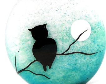 Owl and full moon on aqua teal fade, Illustration in Glass, handmade lampwork glass bead focal by JC Herrell