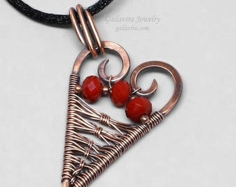 SALE - How to Mend a Broken Heart - Red Glass and Copper Heart Pendant Necklace