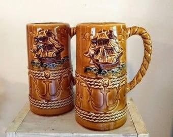 Maritime Mug Set || Ship decor || Anchor & Ship Mugs || Oversized Mugs || Vintage Mug Set