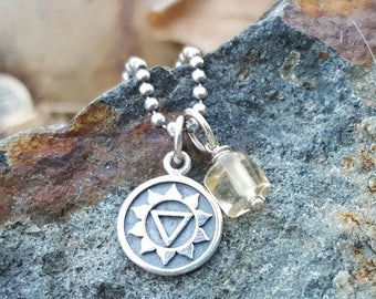 ON SALE TODAY Third Chakra Symbol Charm - Small Sterling Silver - Double Sided with Sanskrit Word - Solar Plex 3rd