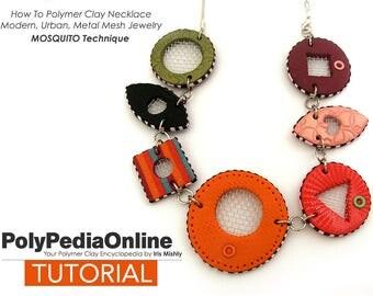 Polymer Clay Tutorial, Polymer Clay Jewelry, Necklace Tutorial, PDF Jewelry Tutorial, DIY Beads, Fimo Bead, Polymer Clay Pattern, Metal Mesh