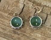 Typewriter Key Earrings Writer Jewelry, Green Punctuation, Sterling Ear Wires