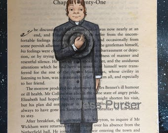 Jane Austen Pride and Prejudice - Mr Collins original painting on book page - Mr Collins Was Meirher Sensible Nor Agreeable