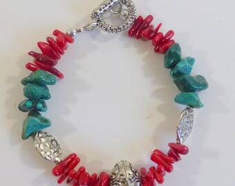 Turquoise Nuggets with Red Coral Twigs, and Silvertone Accents Boho Bracelet Casual Hippie Southwestern Handmade Bracelet
