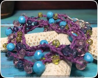 Beach Boho Jewelry, Crochet Necklace, Crochet Bracelet, Wrap Bracelet, Summer Jewelry,Vintage German Glass Mix Crochet Bracelet/Necklace