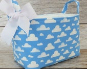 Storage Fabric Organizer Bin Container Basket - Puffy White Clouds on Blue Fabric - Nursery Baby Room Decor - Baby Shower Gift