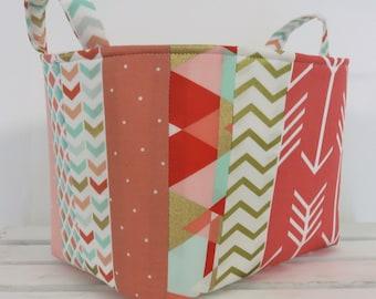 Patchwork - Medium Size Storage Organization Fabric Basket Container Organizer Bin - Nursery Decor- Coral - Mint Green - Aztec - Tribal