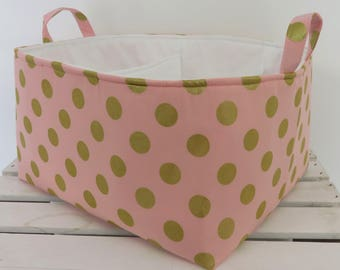 Metallic Gold Dots on Pink Fabric - Diaper Caddy - Storage Container Organizer Bin Basket  -  Nursery Baby Room Decor