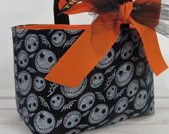 Halloween Trick Treat Candy Bag Basket Bucket - w/ Jack Skeleton Skellington (Nightmare Before Xmas) Fabric - Personalized Name Tag Applique