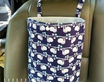 Auto Trash Bag | Car Trash Bag - Sloth - green by mamamade | Car Accessories | Car Garbage Bag | Car Organizer and Storage