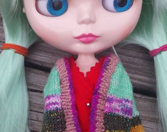 Hand-knit Doll Sweater for Blythe Doll: Baja Blast, Sunny Yellow, with PINK Trim!