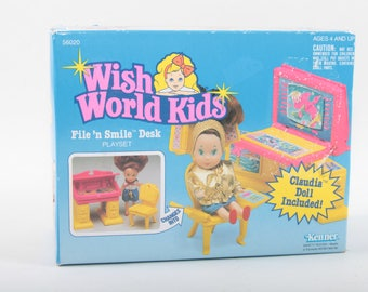 Kenner, Wish World Kids, Playset, Vintage, Toy, File 'n Smile Desk, Plastic, Yellow, Table, Claudia Doll, Unopened ~ The Pink Room ~ 170412