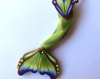 Green and Purple Mermaid Tail Necklace, Mermaid Jewelry, Polymer Clay Mermaid Tail