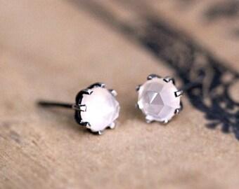 Rose quartz stud earrings, rose cut earrings, mothers day earrings, oxidized silver earrings anniversary gift for wife gift ready to ship