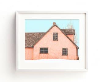 "rustic wall art, rustic home decor, farmhouse decor, large art, large wall art, canvas art, large canvas art, art - ""Little Pink Houses"""