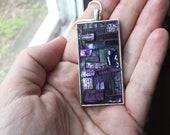 Deep Purple Rectangular Pendant with Silver Bezel