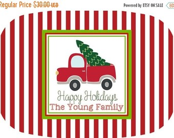 ON SALE Vintage Truck Christmas melamine platter - serving platter - holiday tableware - holiday decor - Christmas gift - personalized