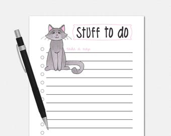 To Do List Notepad - Cat To Do List - Cat To Do List Notepad - Cat Notepad - To Do Notepad
