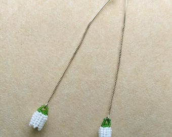 Beadwoven Lily of the Valley Earrings, Silver Plated Ear Threader, Bridal Wedding, Anniversary - White Lily of the Valley by enchantedbeads