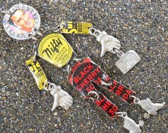 Elvis Pin Pendant ~ Folk Art ~ Vintage Mixed Media Pin Pendant 5.75 inches Postage Stamp Bottle Cap Soda Can Pewter ~ Rock and Roll Nifty!