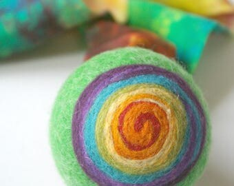 Comet Ball: Felted Wool Ball with Silk Tail (Waldorf Pretend Play, Eco Friendly Active Toy) Green Rainbow Toy
