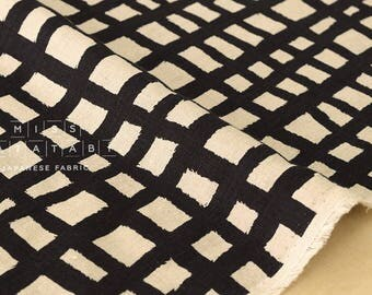 Japanese Fabric 100% linen grid - dark navy -  50cm