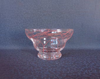 Vintage Glass Custard Cup Small Bowl Trinket Dish Pink Spaghetti String Design