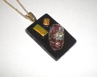 SALE Dichroic pendant, fused glass pendant, black, gold and copper dichroic pendant