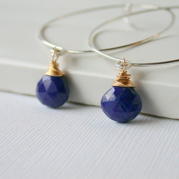 Lapis Gemstone Hoops