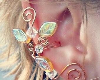 ON SALE Golden Crystal Ear Cuff Climber No Piercing, Lothlorien Fantasy Boho Elven Woodland Ear Cuff
